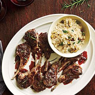 Currant-Glazed Lamb Chops with Pistachio Couscous.