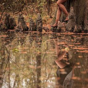 Nice reflection by Sabin Malisevschi - People Portraits of Women ( reflection, girl, tree, autumn, nice, lake, pond, portrait )