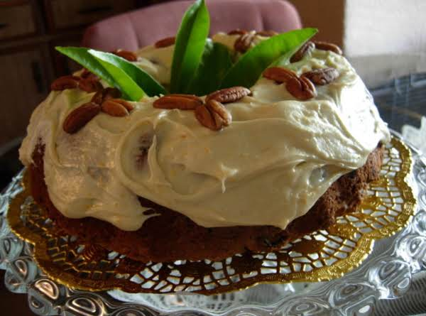 Date & Pecan Cake With A Citrus Rind Cream Cheese Frosting