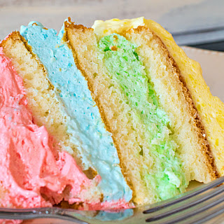 Rainbow Jello Cloud Cake