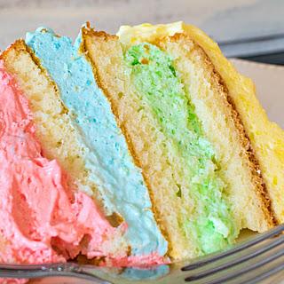 Rainbow Jello Cloud Cake.