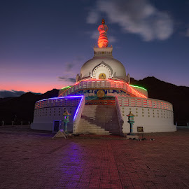 Shantistupa the White Dome at Leh, J&K by Manabendra Dey - Buildings & Architecture Places of Worship ( sky, shantistupa, mountains, night, clouds, leh, ladakh )