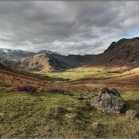 The Langdales, English Lake District by Carol Lauderdale - Landscapes Mountains & Hills ( english lake district, langdale scenery, scenery, snow capped mountains., fell walking. )