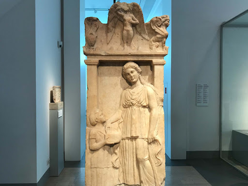 Funerary Stele of the Girl Silenis, Greek marble work, dates to 350 B.C. at the Altes Museum in Berlin.