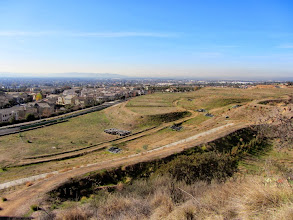 Photo: View southwest over the Rosedale development from near the beginning of Garcia Trail. Much of the trail is on private property owned by Rosedale Land Partners.