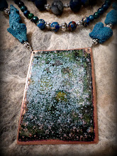 Photo: # 197 THE SEA PLAYING ON A SUNDAY MORN' ~ ГРАЄ МОРЕ В НЕДІЛЮ РАНО - copper enamel pendant, blue coral, Australian jasper, blue , silver plate  $160/set