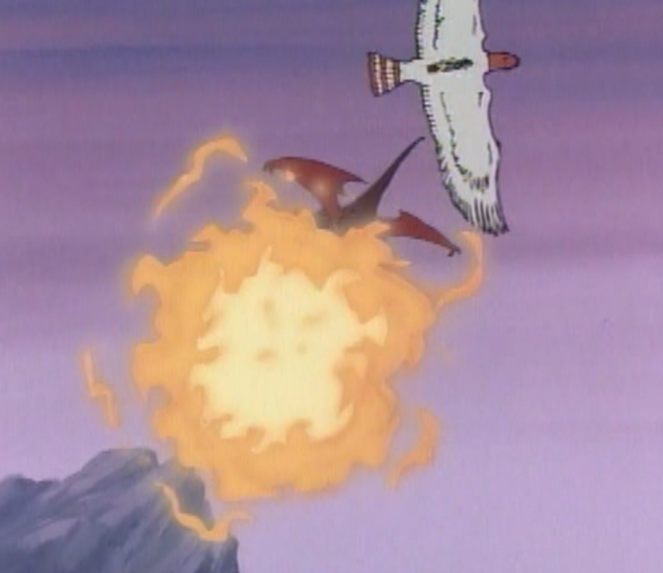 A dragon strafes the roc with fire.