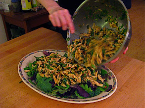 Photo: plating Northern-style chicken salad with aromatic herbs