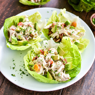 Avocado Ranch Chicken Salad Lettuce Cups.