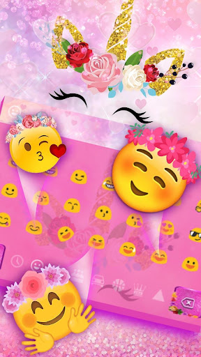 Pink Flower Unicorn Keyboard Theme screenshots 3