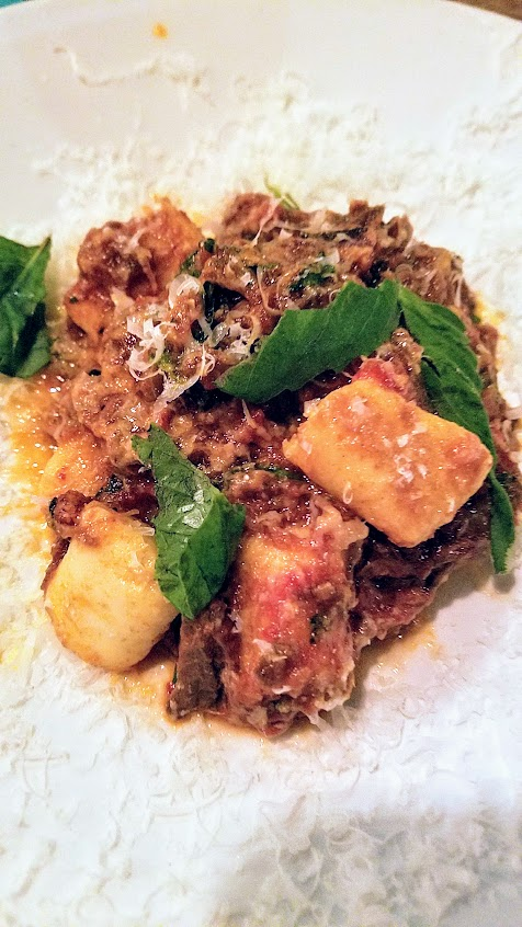 Accanto presents Goat Cheese Gnocchi with roasted goat leg sugo and herbs for Portland Dumpling Week 2018