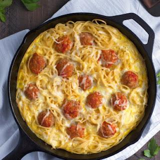 Spaghetti Frittata with Turkey Meatballs