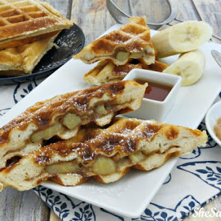 Peanut Butter Banana Stuffed Waffles