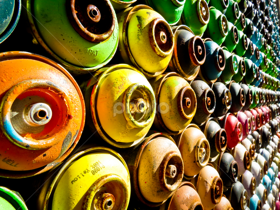 Tins in a row by Christos Psevdiotis - Artistic Objects Other Objects ( colour, tins, graffiti, painting, row )