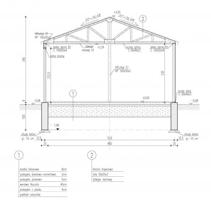 Projekt Garażu Gb28 Garaż Blaszany Z Wiatą Twg 628 3465m²