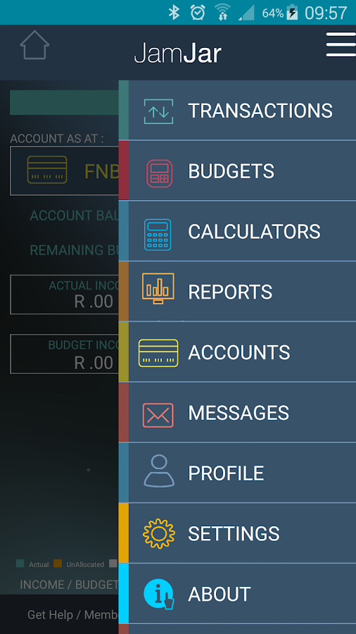 JamJar South Africa Budget App- screenshot