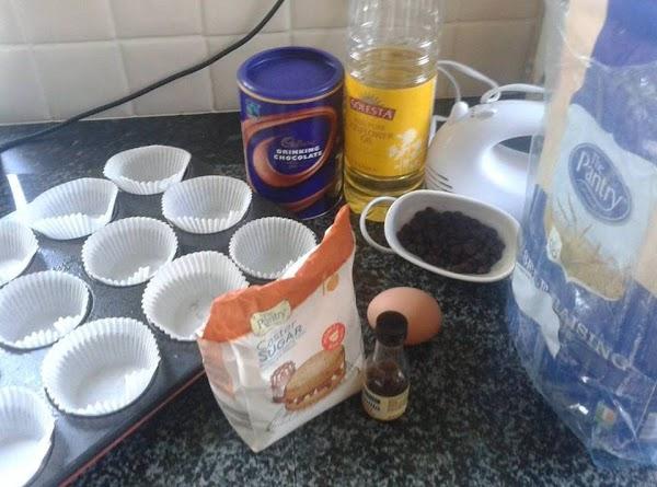Pre-heat the oven t0 180c/350f . Prepare muffin tray with paper cases
