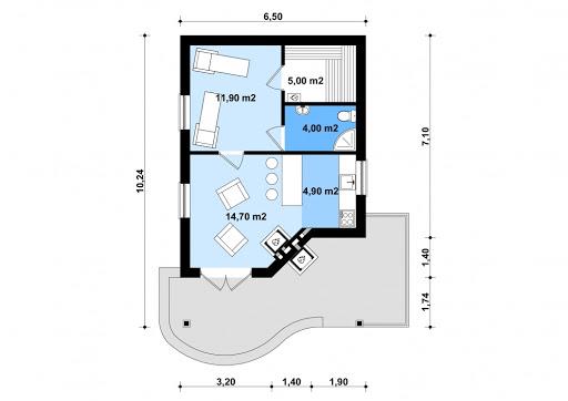 G196 - Budynek rekreacyjny z sauną - Rzut parteru