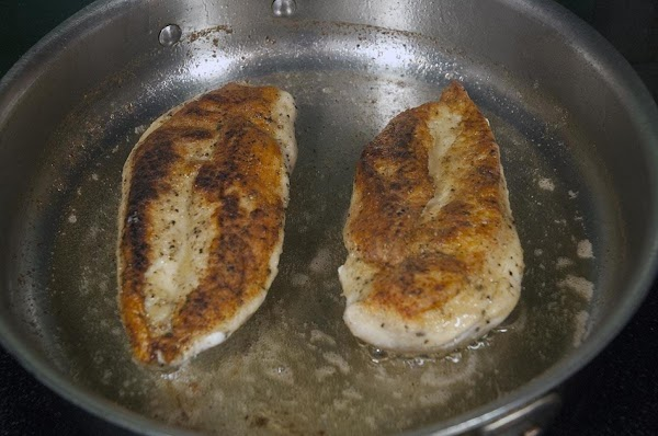 Sauté the chicken about five minutes on each side, or until golden brown.