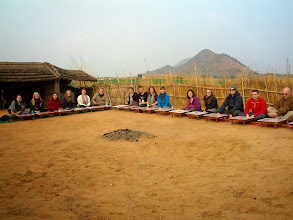 Photo: The whole group at dinner on a farm just outside of Pushkar