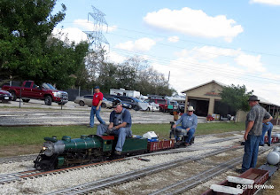Photo: JT Bailey and Billy Click on the train while Shane Murphy watches.   HALS 25th Anniversary Meet 2016-1112 RPWhite