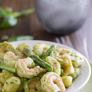 Gnocchi with Pesto, Shrimp and Asparagus.