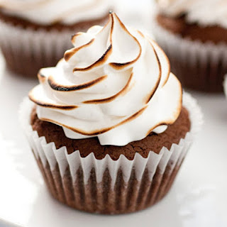 Fancy Brownie Cupcakes with Torched Marshmallow Frosting
