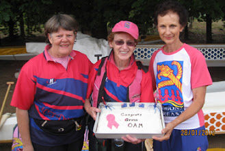 Photo: Anna Wellings Booth OAM - Carol, Patsy and Anna with cake 28 January 2012