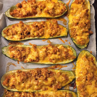 Baked Stuffed Zucchini Boats With Ground Beef And Cheese.