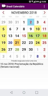 Brasil Calendário 2018 com todos os Feriados - náhled