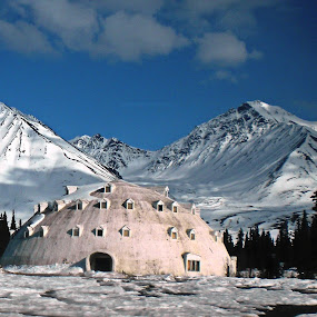 Alaska Igloo				 by Nancy Young - Buildings & Architecture Other Exteriors ( building, mountain, igloo, snow, alaska,  )