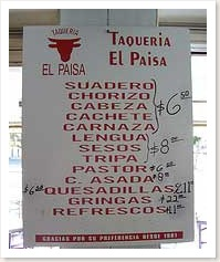 menu at a taco place in Guadalajara