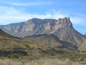 Photo: We knew which way to head -- straight for the Southeast Rim, visible as a sharp point marking the high rim of the Chisos Mountains.