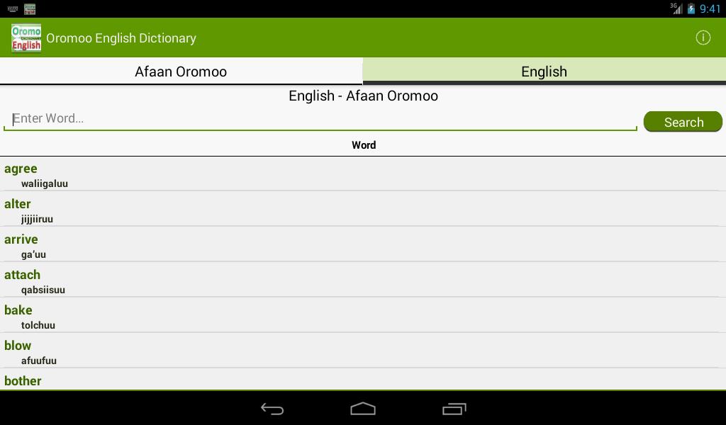 FREELANG Oromo-English-Oromo online dictionary