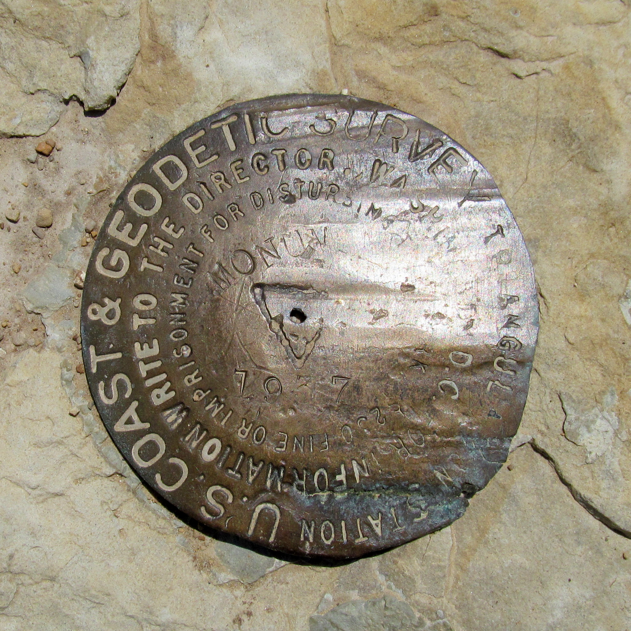 Photo: 1937 Monument Peak survey marker