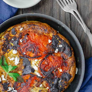 Open-Faced Greek Omelet Recipe with Tomatoes.