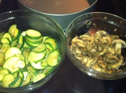 Add Zucchini to a pan. Stir frequently until Zucchini is tender.Spoon half the mushroom...