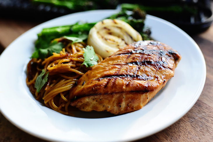 Grilled Peanut Chicken and Broccolini