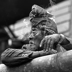 waiting the ceremony by Vantodes . - People Portraits of Men ( old culture expression )
