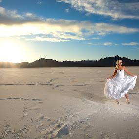 Salt Flats Bride by Scott Myler - People Portraits of Women ( sunset bridal, salt flats bridals, salt flats bridal photography, scott myler, photography )