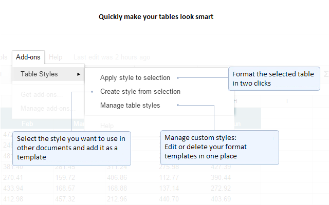 table style template