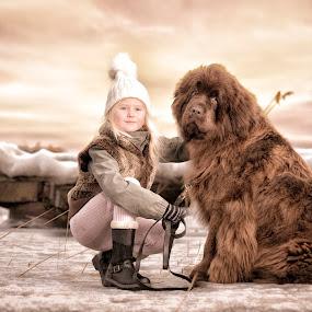 Best friends by Jan Kraft - Babies & Children Child Portraits ( sweden, girl, winter, nature, sunset, snow, dog, norway )