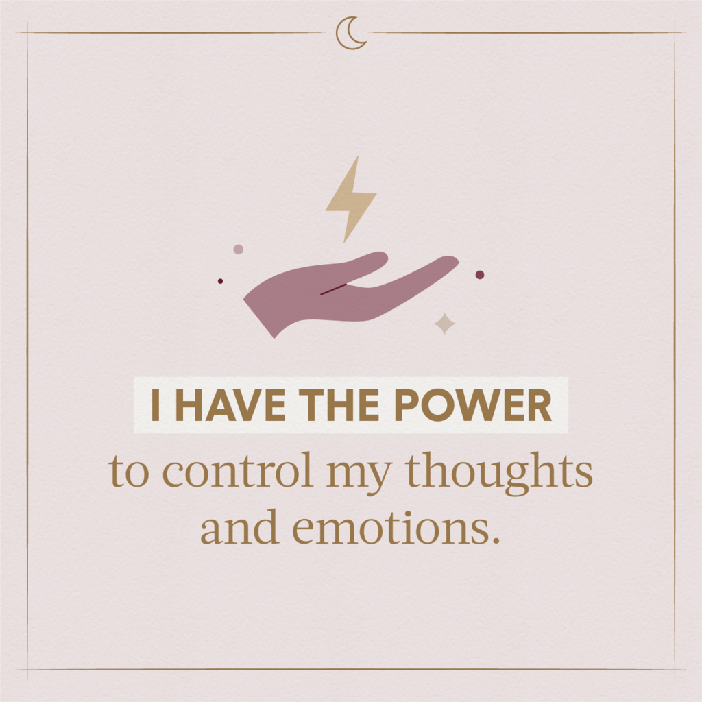 A pink illustrated hand holding a lightning bolt indicating using sleeping affirmations to feel more powerful and in control]
