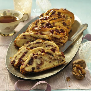 Cranberry and Walnut German Striezel Sweet Bread.