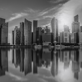 Black and white Singapore city skyline of business district down by Nuttawut Uttamaharach - Black & White Buildings & Architecture ( skyline, reflection, centre, exterior, travel, architecture, cityscape, landscape, business, singapore, city, center, modern, daytime, skyscraper, riverside, asia, marina, district, light, reflective, downtown, water, hipster, building, format, landmark, urban, bay, horizontal, outdoor, scenery, day, natural, waterfront, outside, daylight, reflect, river )