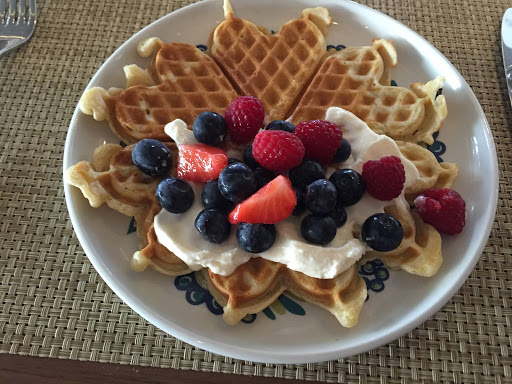 Viking-Star-Mamsens-waffle - The Norwegian waffle with cream and fresh berries served for breakfast at Mamsen's on Viking Star.