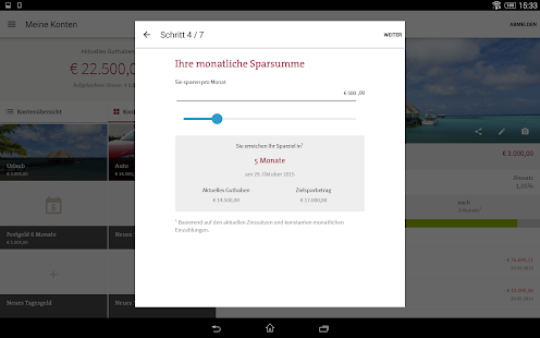 MoneYou Spar-App Tablet – Miniaturansicht des Screenshots