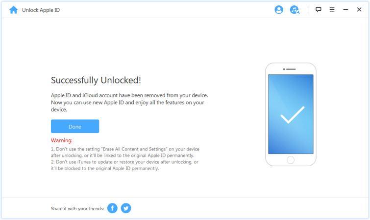 Apple ID is unlocked: the iPad is successfully unlocked