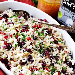Orzo Pasta Salad with Feta Cheese and Cranberry Pomegranate Vinaigrette.