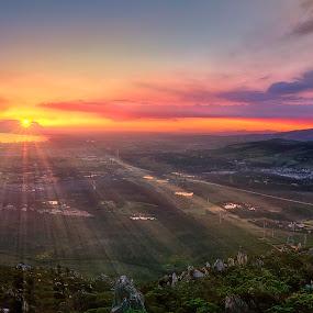 Evening Rays by David Morris - Landscapes Sunsets & Sunrises